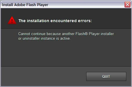 Error 1011: Another Flash Player installer is already running