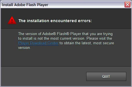 Error 1013: A more current Flash Player is either installed or is available from www.adobe.com