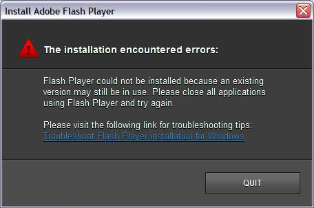 Error 1025: The existing Flash Player is in use