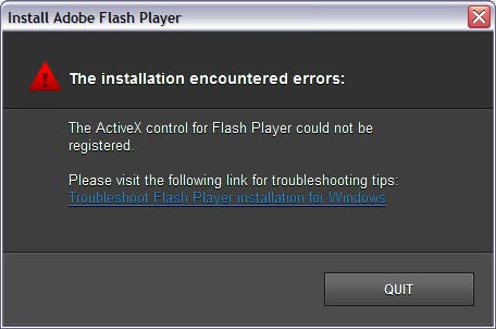 Error: 1032: The Flash Player ActiveX control could not be registered